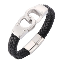 Fashion Black Brown Genuine Leather Bracelet for Men Handcuffs Stainless Steel Cuff Chain Bracelets&Bangles Men Jewelry BB0321