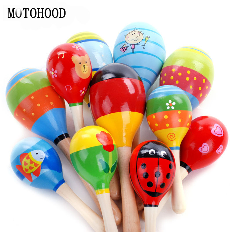 MOTOHOOD 11.5cm 1Pcs Instrumentos Musicales Baby Wooden Toys For Kids Children Noise Maker Educational Musical Toys Rattles