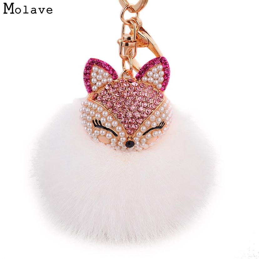 все цены на Naivety 1PC Artificial Fur Ball with Faux Fox Head Inlay Rhinestone Ring Chain Pendant For Bag 15S61101 drop shipping