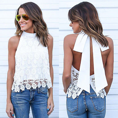 Fashion Women Summer Vest Top Sleeveless Shirt Blouse Casual Tank Tops Backless Bow Shirt Lace Taseel Blouses