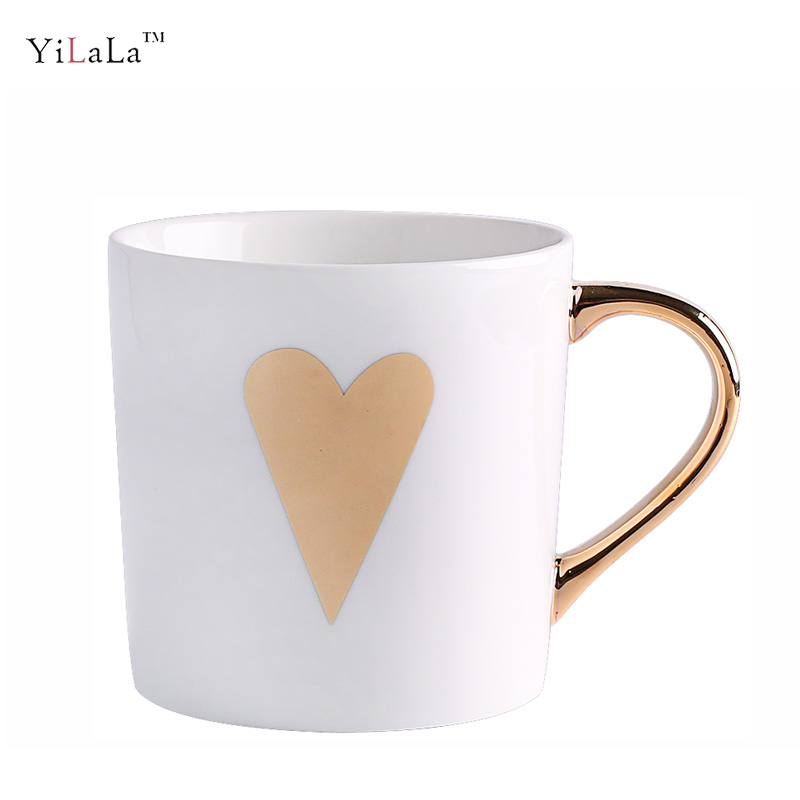lovers gift Valentines Day heart deisgn gold handle ceramic coffee milk mug 6 designs for