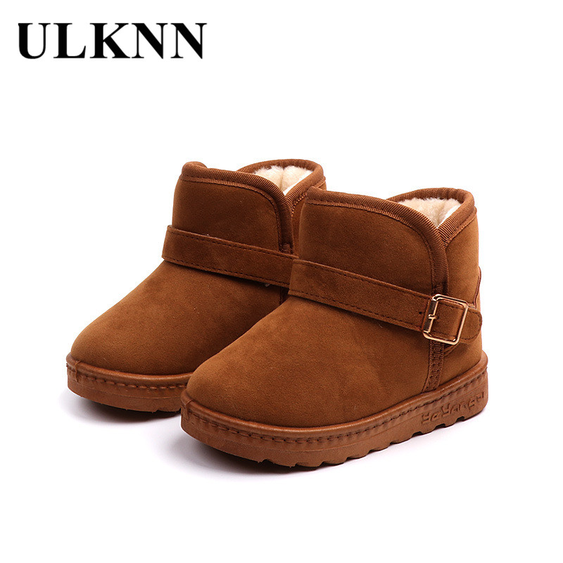 ULKNN Kids Velvet Winter Snow Boots 2018 Warm Plush Boys Shoes Girls Ankle  Boots Children Non Slip Buckle Gray Shoes School Flat-in Boots from Mother    Kids ... fa1bad699f55