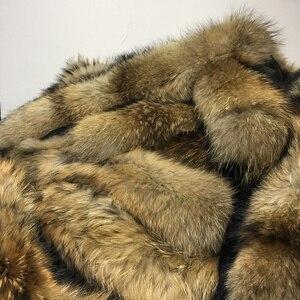 Image 2 - Меховой воротник из натурального меха енота, роскошный шарф из 100% натурального меха, шарфы Desigual, теплый женский зимний пуховик с капюшоном # BF01