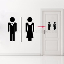 Removable Toilet Sign Bathroom Restroom Door Decal, WC Vinyl Sticker Women and Man Wall Decoration Stickers AY1177