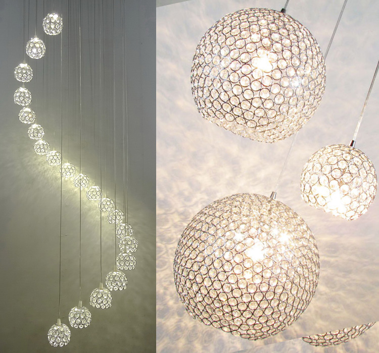 Modern minimalist LED three heads round stairs long crystal light in the bedroom living room dining study small pendant ZH SJ88 цена