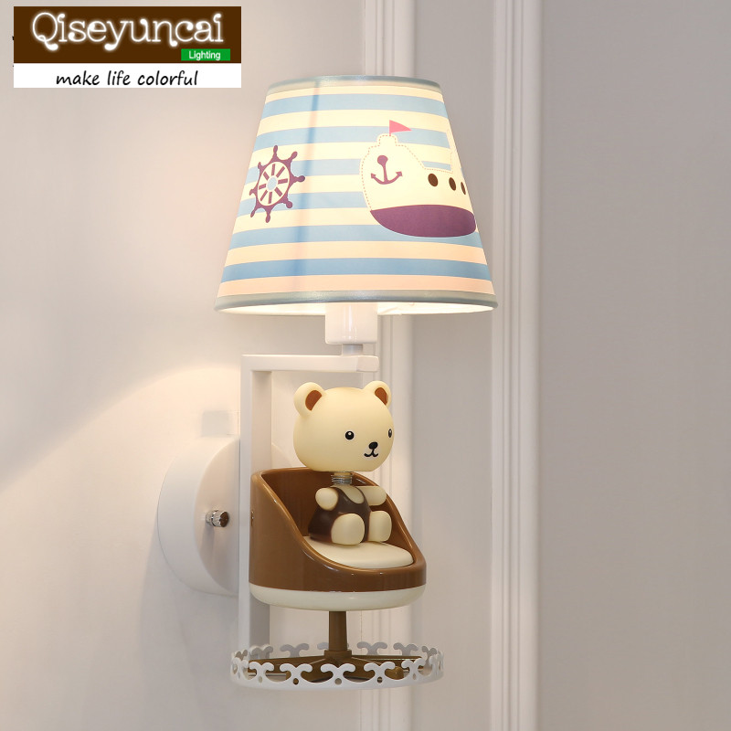 Qiseyuncai Modern minimalist children bedroom bedside lamp cartoon cute bear rotating music wall lamp