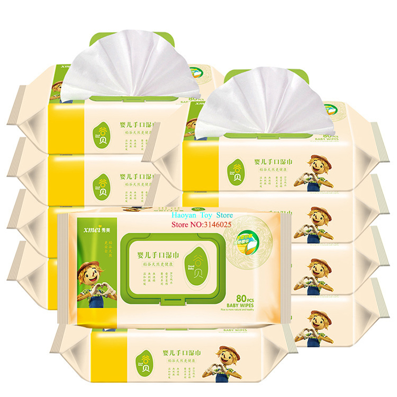 80pcs One Set Outdoors And Camping Baby Skin Care Combat Baby Wet Wipes Kids Active Biodegradable Cleansing Refreshing Wipes