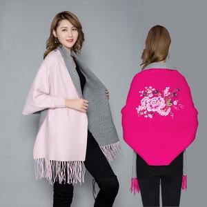 Image 1 - Женское пончо с вышивкой, теплое плотное пончо большого размера, мягкое уличное пончо высокого качества для осени и зимы