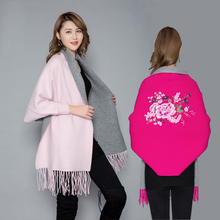 New arrival fashion high quality embroidered poncho autumn winter thick large warm shawl women comfortable soft outdoor poncho