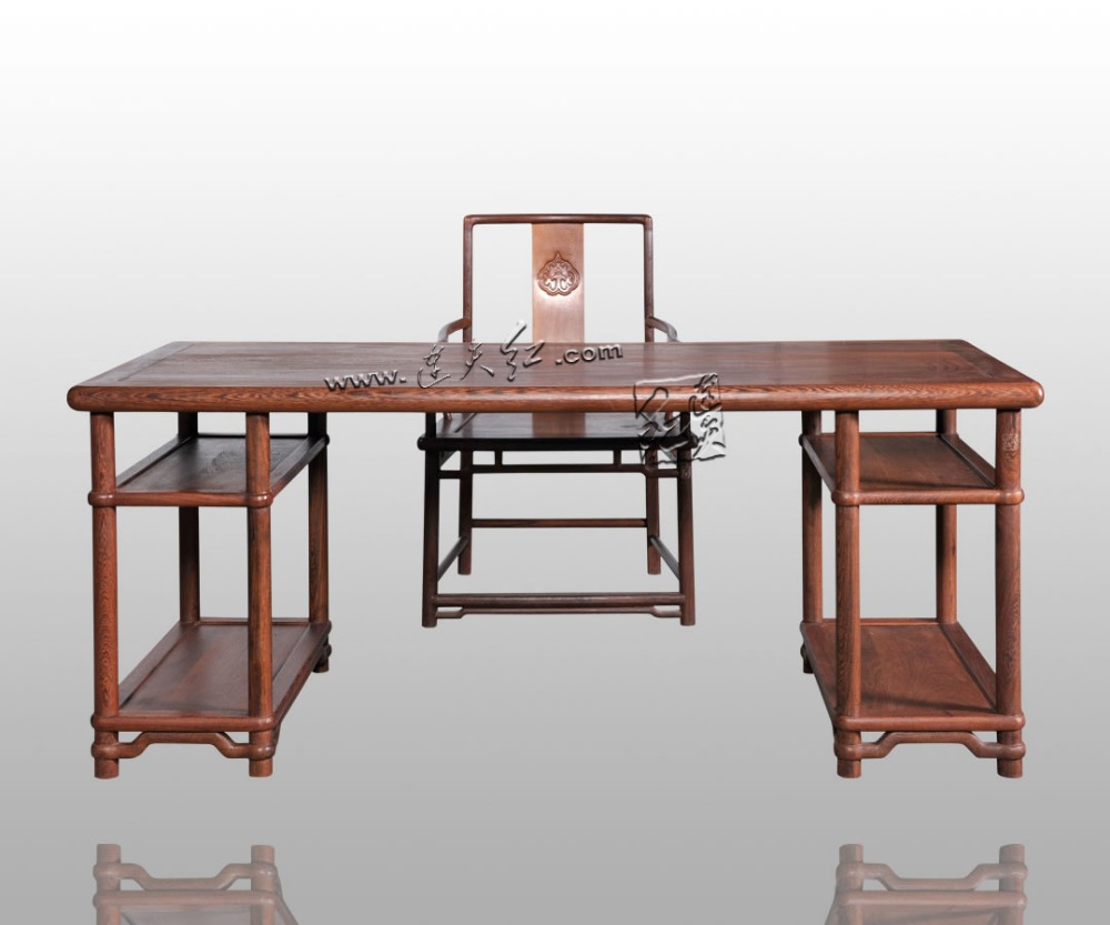 Home living Room Office Tables Set Rosewood Chinese Classical Retro Furniture Annatto Solid Wood Book Desk and redwood Armchairs