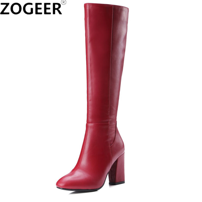 2019 Autumn Winter Fashion Knee High Boots Women Boots Square Heel Zipper Ladies Shoes Heel High