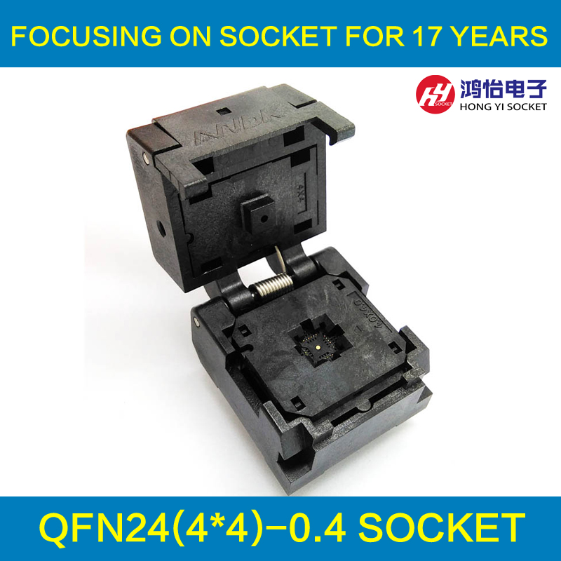 QFN24 MLF24 WLCSP24 Burn in Socket Pin Pitch 0.4mm IC Body Size 4x4mm IC549-0244-016-G Flash Test Socket Adapter fshh qfn24 to dip24 programmer adapter wson24 udfn24 mlf24 ic test socket size 8mmx6mm pin pitch 0 8mm