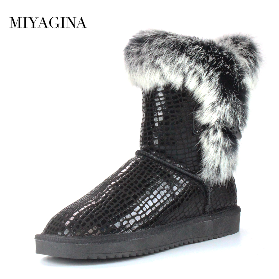 MIYAGINA Brand Women's Natural Real Rabbit Fur Snow Boots 100% Genuine Leather women Boots Female Winter Shoes fashionable real genuine women knit rabbit fur poncho cape wrap shawl with raccoon fur collar stole femail winter style pashmina