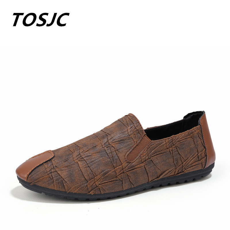 TOSJC New Style Soft Leather Casual Shoes Cozy Driving Shoes Brown Color Nubuck Leather Comfortable Man Casual footwear