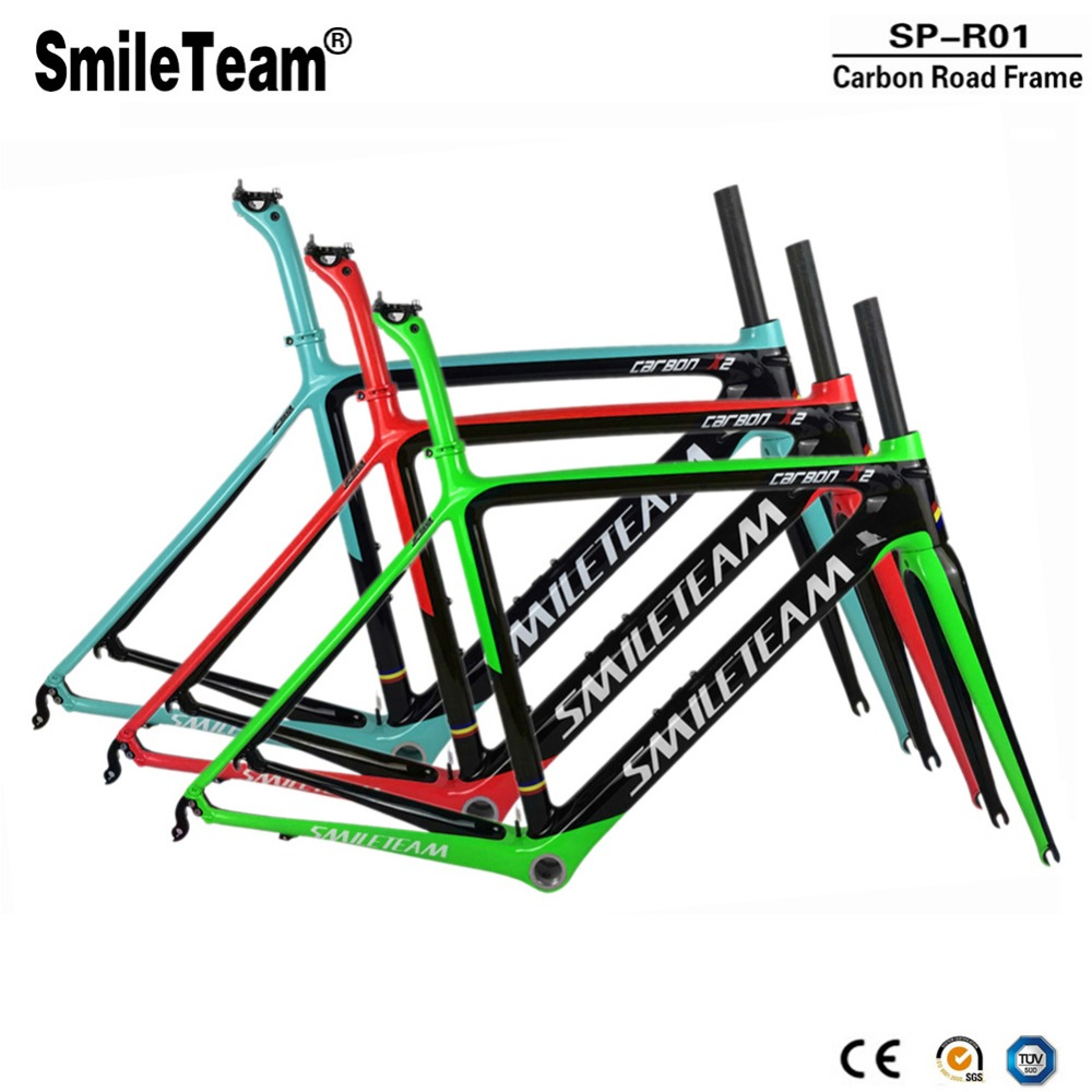 SmileTeam 2018 New Carbon Road Bike Frame DI2 & Machinery Carbon Racing Bicycle Frameset With Seatpost Headset 50/53/55cm smileteam 2018 new bsa carbon road bike frameset t800 carbon 700c racing bicycle frame with fork seatpost 2 year warranty