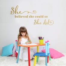 Cartoon she believed could so did Home Decorations Pvc Decal For Kids Rooms Decoration Wall Art MURAL Drop Shipping