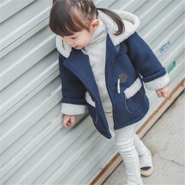 Fast High Quality 2016 Korean Autumn Winter Casual Children Clothes Cute Casual Fleece Warm Wool Coat Outwear Girls Clothing