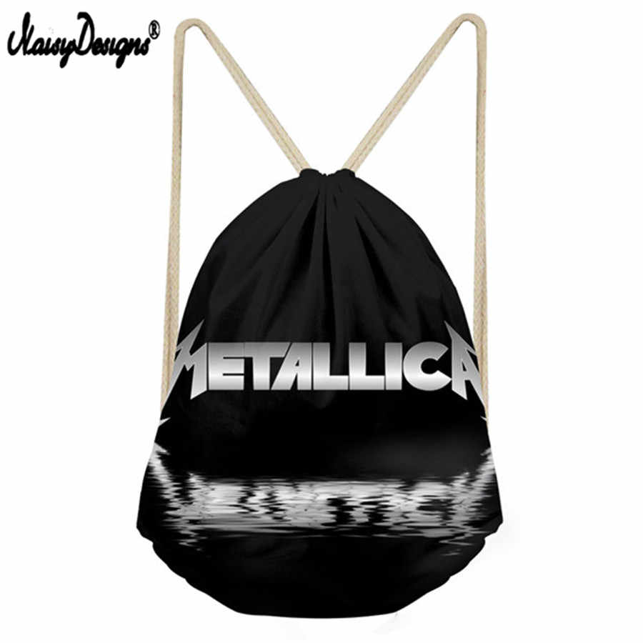 Black Draw String Bag Girls Travel Men's Backpack Metallica Skull Print Hip  Hop Men Drawstring Bag