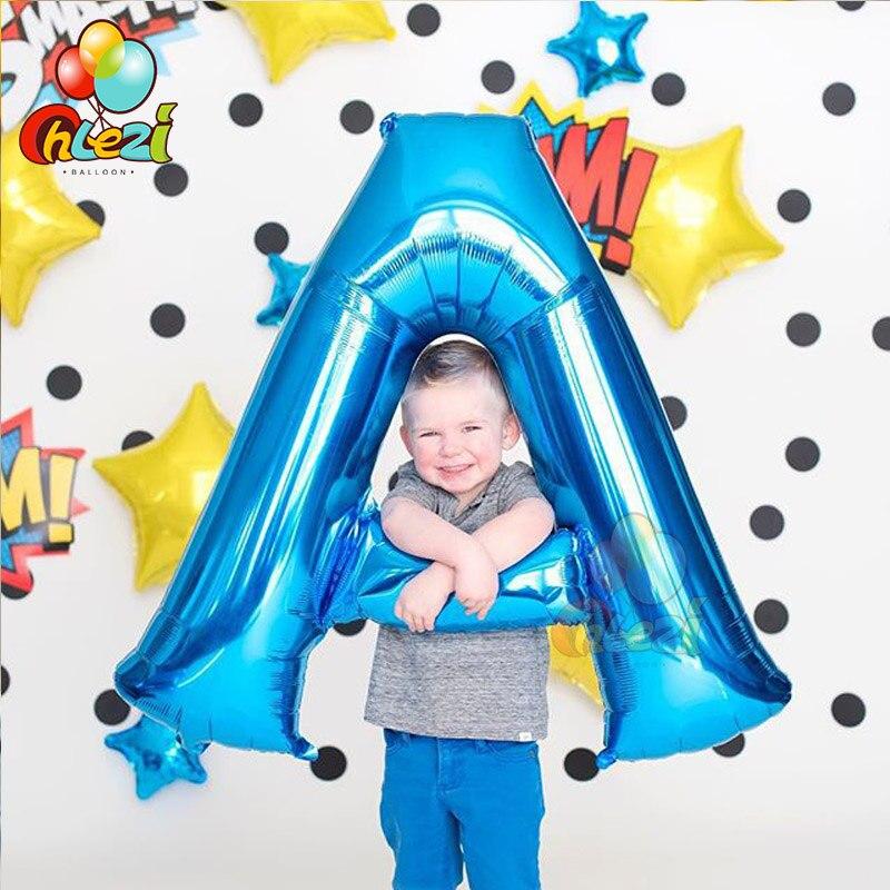 Balões de letras de 40 polegadas, balões rosa, azul, ouro, prata e nome, globos a b c, decoração de chá de bebê, casamento, aniversário e festa suprimentos