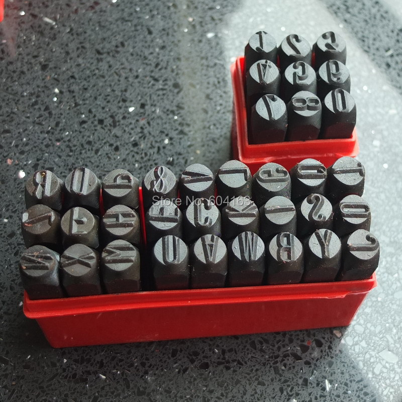 one set number die letter steel stamp punch 10mm alphabet jewelers set 0393china