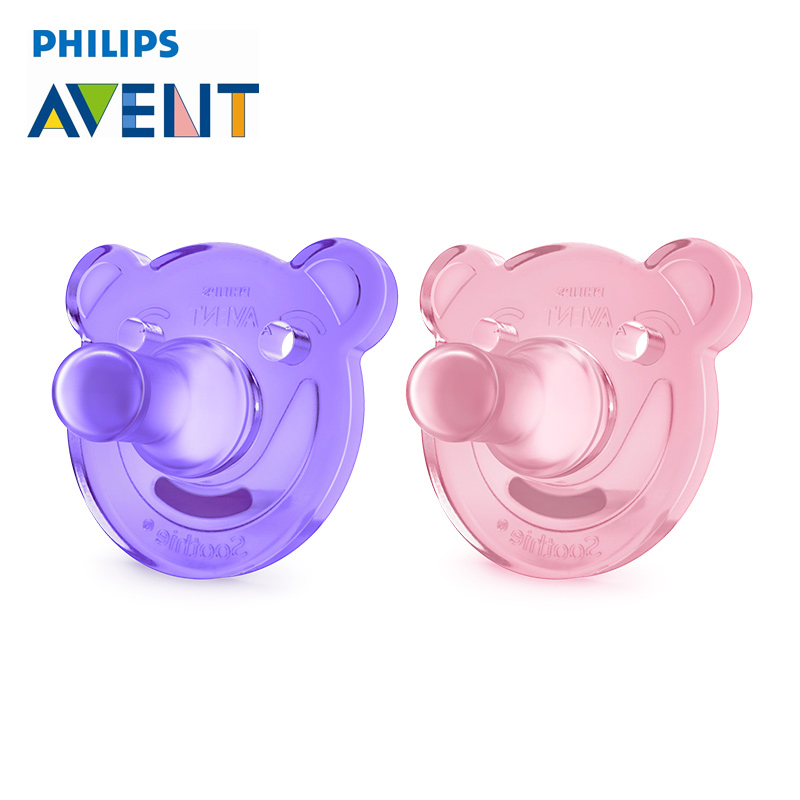 2Pcs Purple Avent Bear Shape Pacifier For 0-3 Months Orthodontic Soother Avent Soothie Nipple BPA-Free Dummy-0-3M Care