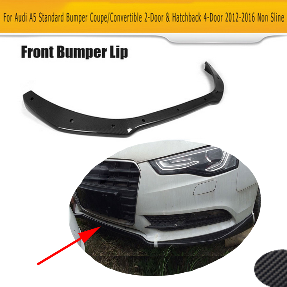 цены на carbon fiber front bumper lip spoiler Diffuser for Audi A5 standard And Convertible Only 12-16 Non S line JC Style Black FRP