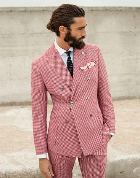 남성 슬림 피트 맞춤 맞춤 MADE, BESPOKE 핫 핑크 신랑 결혼식 턱시도 검은 목도리 옷깃, 맞춤형 핑크 슈트 (재킷 + 바지