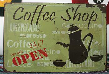 50 sztuk partia Metal zaloguj shabby chic plakietka emaliowana #8222 ekspres do kawy sklep otwarty #8221 Metal Wall Art sklep gospodarstwa sklep kuchnia jaskinia C-41 tanie i dobre opinie Europa Ludzi