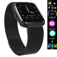 Heart Rate Fitness นาฬิกาแฟชั่นดิจิตอลสมาร์ทนาฬิกาผู้หญิงผู้ชายสายหนังตาข่าย Pedometer กีฬานาฬิกาข้อมือฟิตเนสนาฬิกา