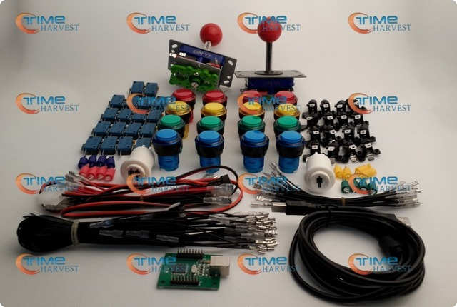 Arcade parts Bundles With Illuminated button LED bulbs holders nuts Joystick player buttons Microswitch USB adapter ground wires