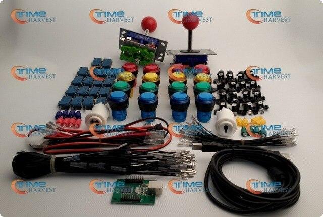 Pièces d'arcade Faisceaux Avec bouton Lumineux LED porte-ampoules noix Joystick lecteur boutons Micro USB adaptateur fils de terre