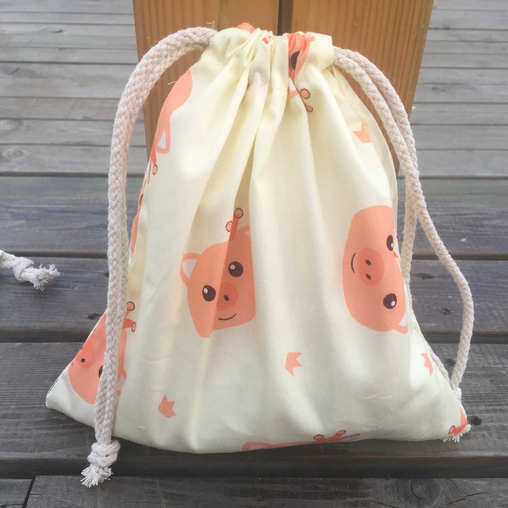 1pc Cotton Twill Drawstring Organizer Bag Party Gift Bag Print Red Pig Head YL408a