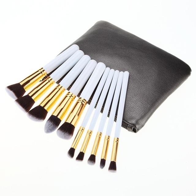 10 Pcs Pincéis de Maquiagem Profissional de Qualidade Superior Macio Cosméticos Compo o Jogo Da Escova Kabuki Brushes Kit Com PU Bolsa de Maquiagem Maquiagem