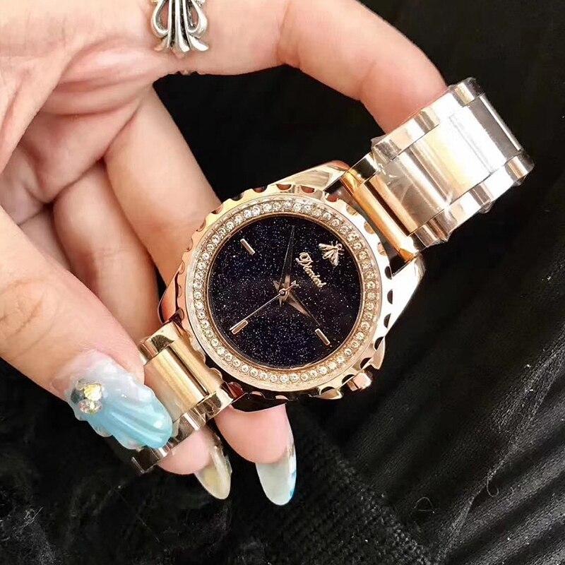цена на 3D Bee Watches Women Top Luxury Brand Rhinestone Watch Lady Crystal Stainless Steel Bracelet Ladies Diamond Wristwatch 2018 Saat