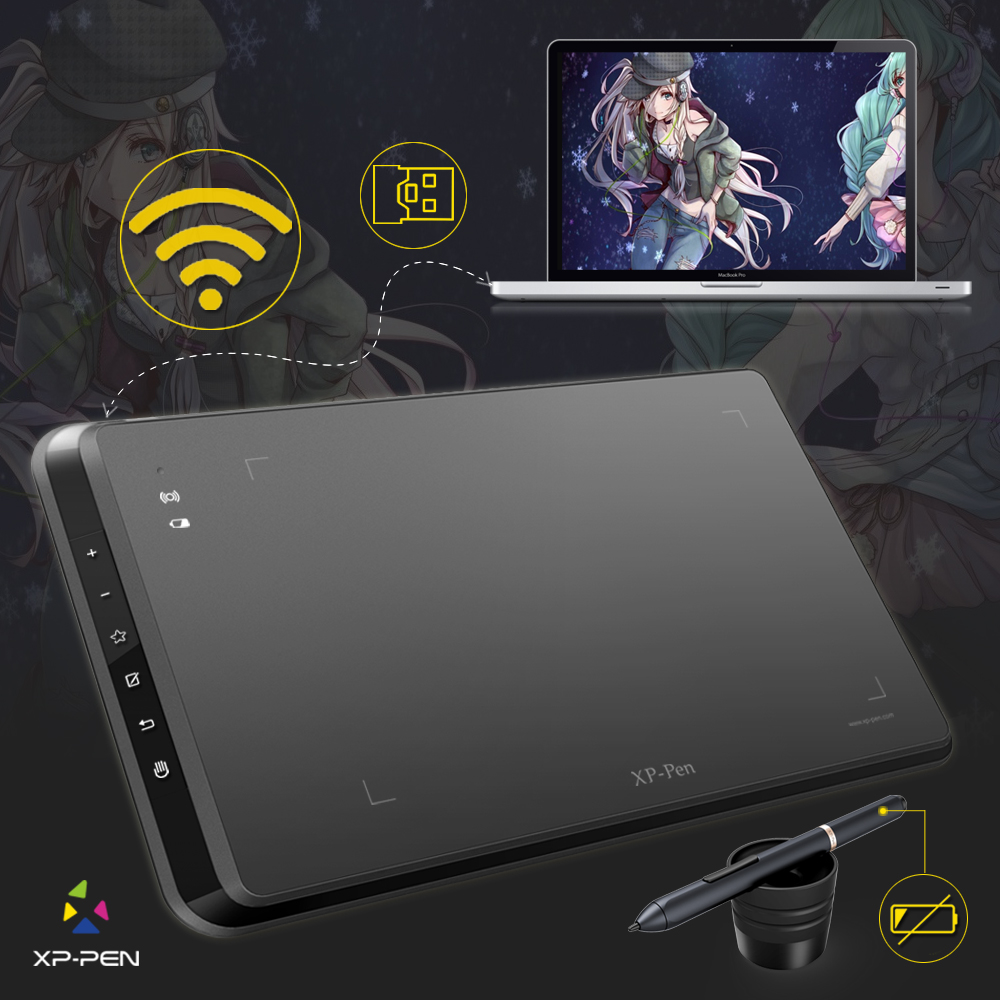 XP Pen Star05 Wireless Battery Free Stylus Graphics Drawing Tablet Drawing Board With Touch Express Keys