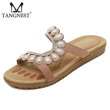 2016 Nuevo de Las Mujeres Sandalias de diamantes de Imitación de Las Mujeres Del Verano de Ocio Sandalias de Albaricoque y Azul Resbalón de Flip FLops Zapatos de Mujer Talla 35 ~ 41 XWZ1757