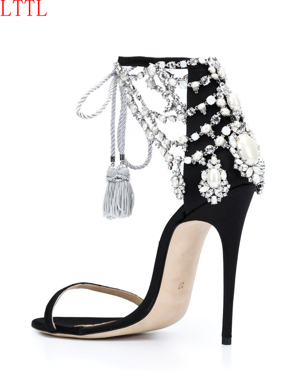 2017 New Arrival Wedding Party Summer Dress Shoes Women Open Toe High Heel Sandals Luxury Crystal Embellished Ankle Strap Sandal young girl s black suede open toe lace up ankle sandal boots stiletto heel fringe dress shoes braid embellished party shoes