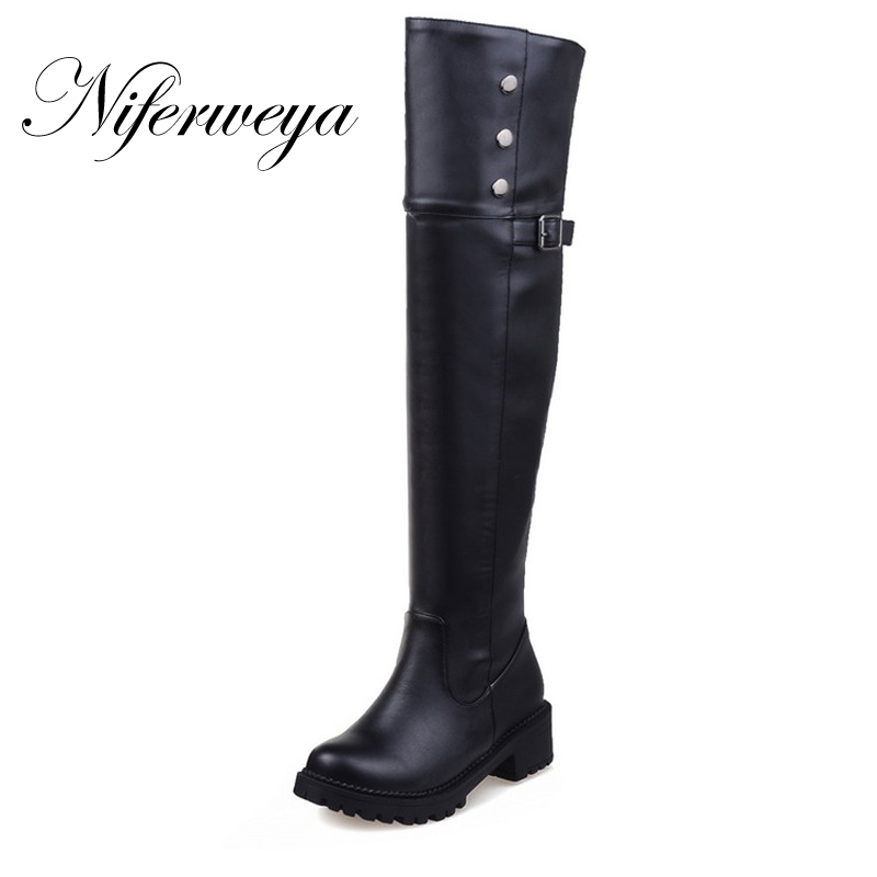Over-The-Knee-Boots Mid-Heel-Shoes Zipper Big-Size Winter Women Fashion Ladies PU Solid