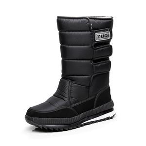 Image 5 - Men Boots Casual Winter Snow Boots For Men Shoes Thick Plush Waterproof Slip resistant Male Winter Shoes Plus Size 34   47