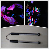 Wecool China factory 2*40 leds change photos program colorful LED nunchakus led pixels poi with USB recharger
