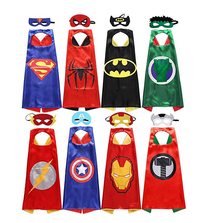 8 sets 5 sets 4 sets Kids Superhero capes Costumes  Capes with Felt Masks for kids Children's  birthday party Halloween cosplay
