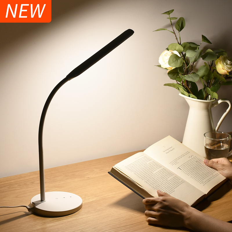 Super Bright LED Desk Lamp 4000K 5-level Dimmer Touch Sensor Office Table Lamp Flexible Reading LED Lights Soft Natural Light super bright led desk lamp 15w slide control metal table lamp 6 level brightness 6 color modes adjustable reading lights
