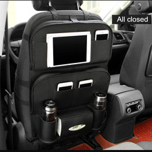 Quality Leather Car Seat Back Storage Bag Folding Table