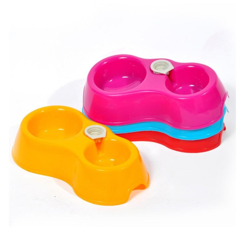 Портативный питатель для домашних животных пластиковый двойной порт автоматическая подача питьевой воды кормления миски для еды для кошек домашних собак без бутылки