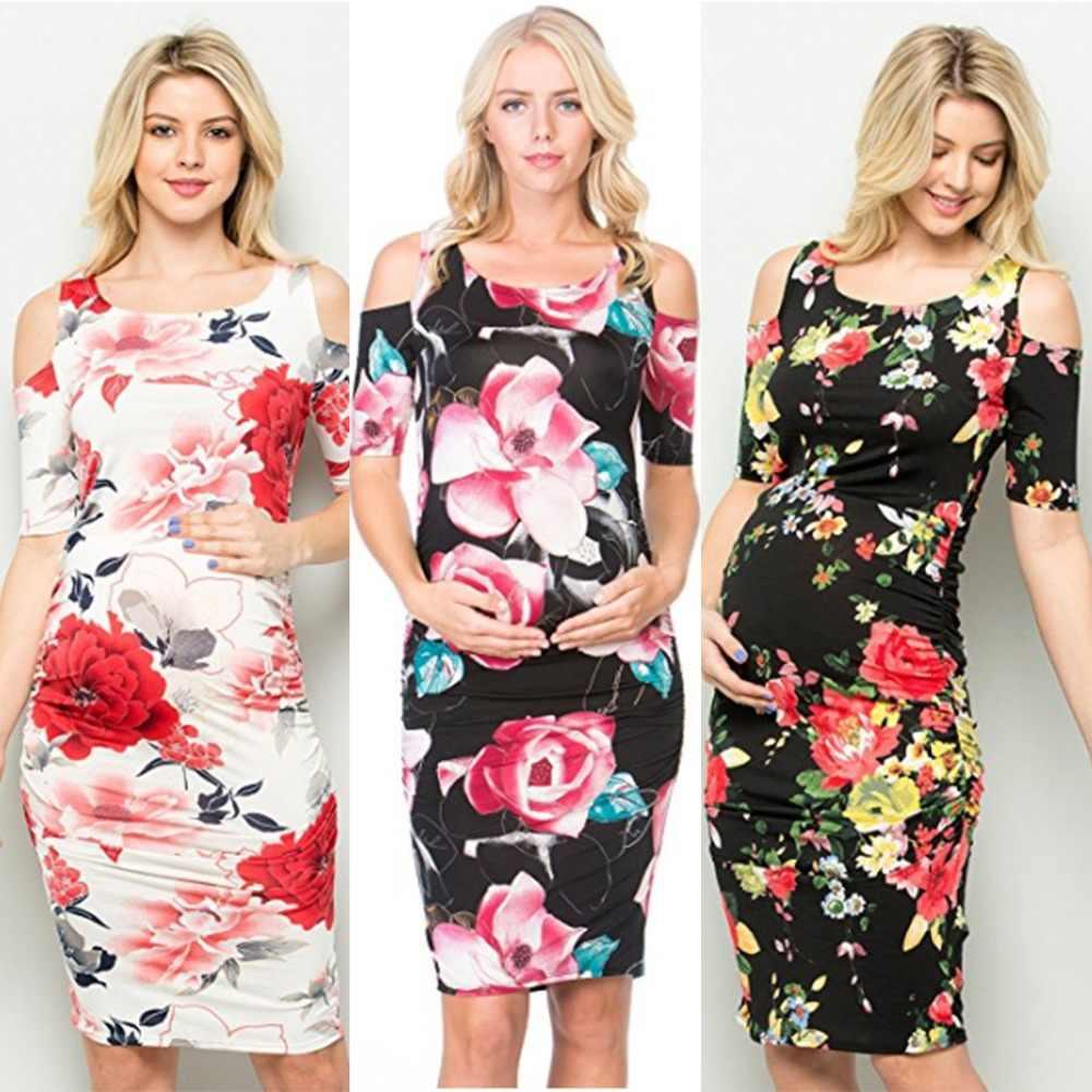 e84640bac7078 Puseky Stretch High Waist Short Sleeve Floral Maternity Dress Off Shoulder  Pregnant Women Fresh Dresses Bandage