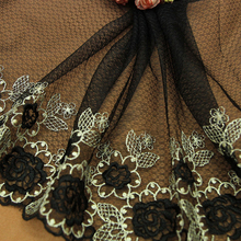 1yd Lace Fabric Trim Dark Black Gold Embroidered Flowers Tulle Mesh 22cm Wide Clothes Accessories Curtains Sofa Sewing