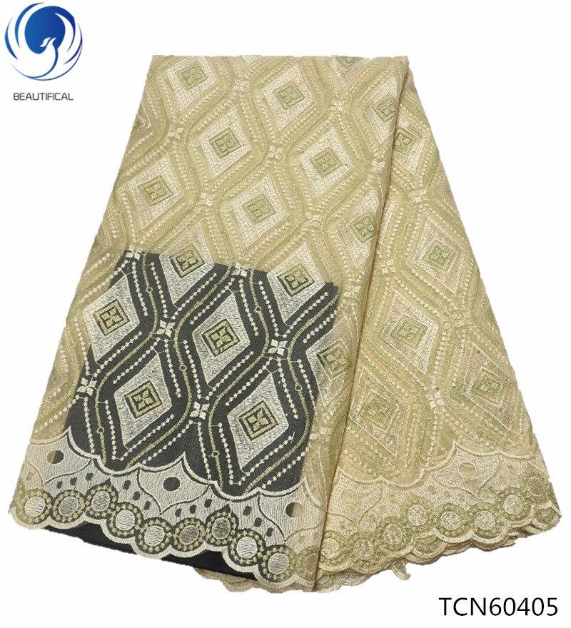 BEAUTIFICAL lumière jaune tissu africain de lacet africain blanc net tissu en dentelle 2019 qualité supérieure français de mariage dentelle vêtements TCN604