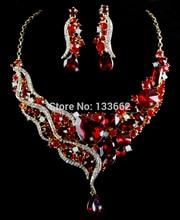 Luxury bridal Wedding Jewelry Sets Drop water Design Rhinestone necklace earrings set crystal Women Party Jewelry Gifts