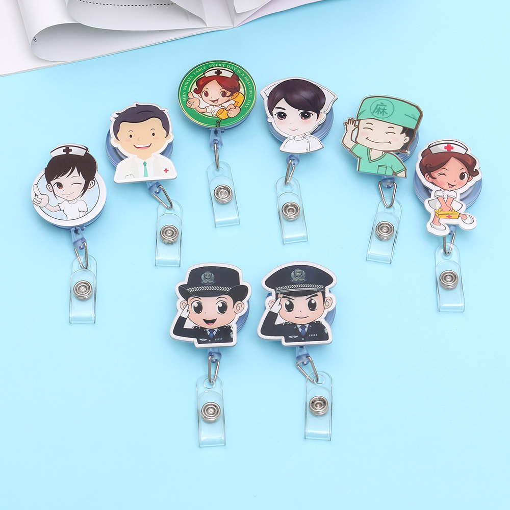 1Pcs Cute Retractable Badge Holder Reel Student Nurse Exhibition ID Enfermera Name Card Badge Holder Office Stationery Supply
