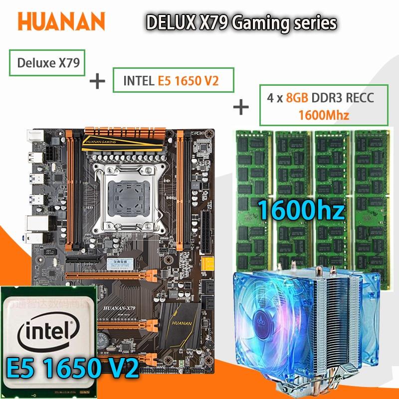 HUANAN Золотой Делюкс X79 игровой материнской платы LGA 2011 ATX Процессор E5 1650 V2 SR1AQ 4x8 г 1600 мГц 32 ГБ DDR3 RECC памяти с охладитель